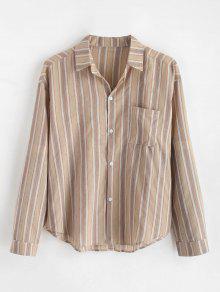 قميص بطبعات مخطط - ضوء الكاكي 2xl