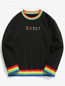 ZAFUL Rainbow Ribbed Trim Letter Sweatshirt - أسود L
