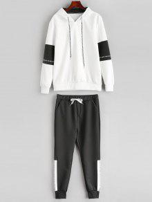 على النقيض رسالة هوديي Sweatpants البدلة - أبيض Xs