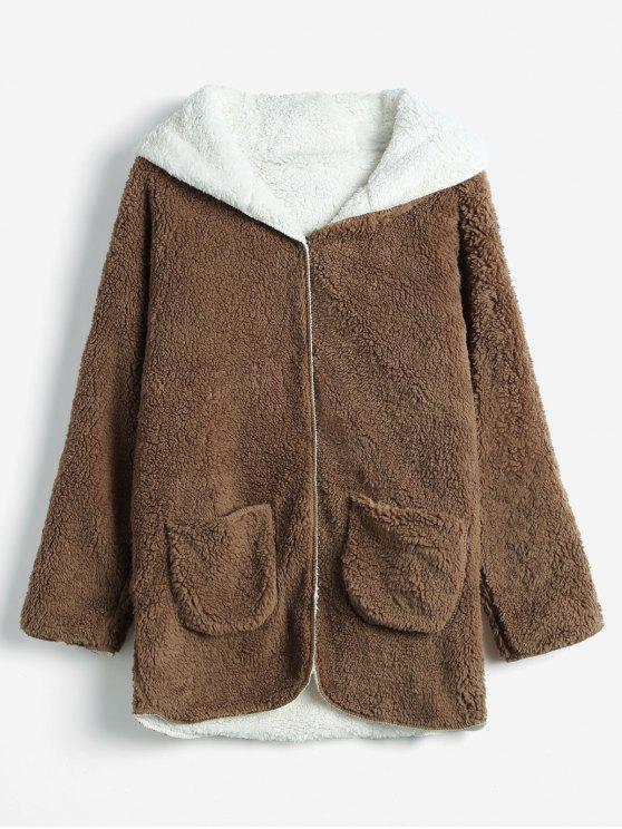 outfit Hooded Faux Shearling Teddy Coat - BROWN L