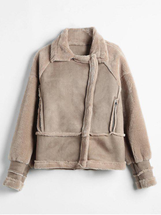 Casaco de pele de carneiro falso Zip Pockets - Caqui Escuro M