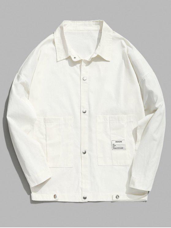 Botão de pressão fina jaqueta jeans - Branco L