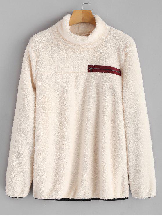 hot Zipper Embellished Mock Neck Fluffy Sweatshirt - WARM WHITE M