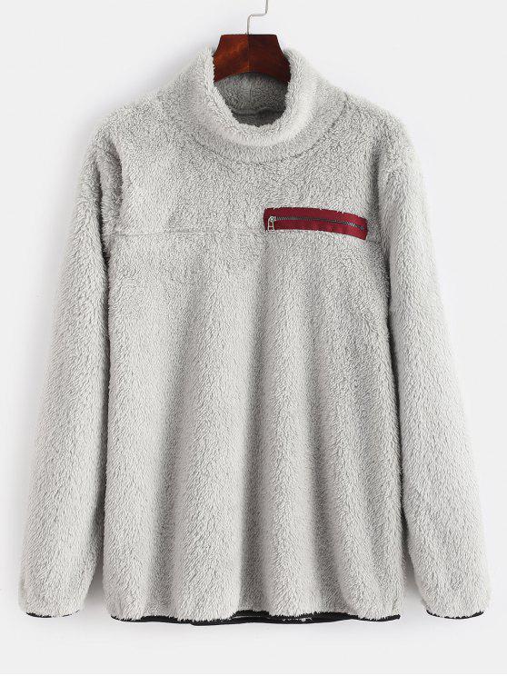 unique Zipper Embellished Mock Neck Fluffy Sweatshirt - LIGHT GRAY M