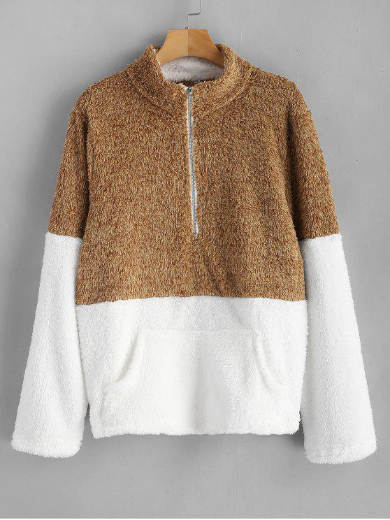 latest Kangaroo Pocket Contrast Fluffy Sweatshirt - CARAMEL M