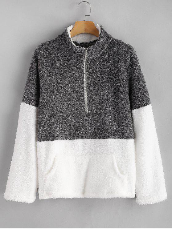 Camisola macia do contraste do bolso do canguru - Cinzento Escuro S