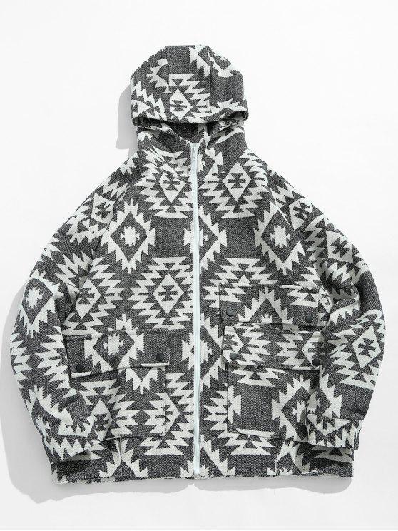 women Geometrical Pattern Zip Up Hooded Jacket - WHITE L