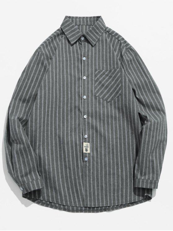 Chemise à rayures à boutons imprimés - Cuirassé Gris 3XL