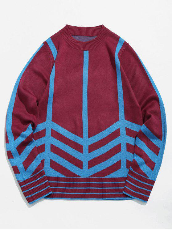 hot Striped Pullover Sweater - RED WINE S