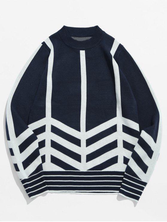 Maglione Pullover A Righe - Blu  Ardesia Scura L