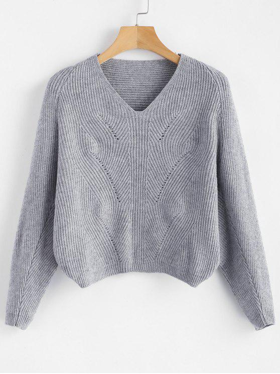 fashion V Neck Batwing Sleeve Crop Sweater - GRAY ONE SIZE