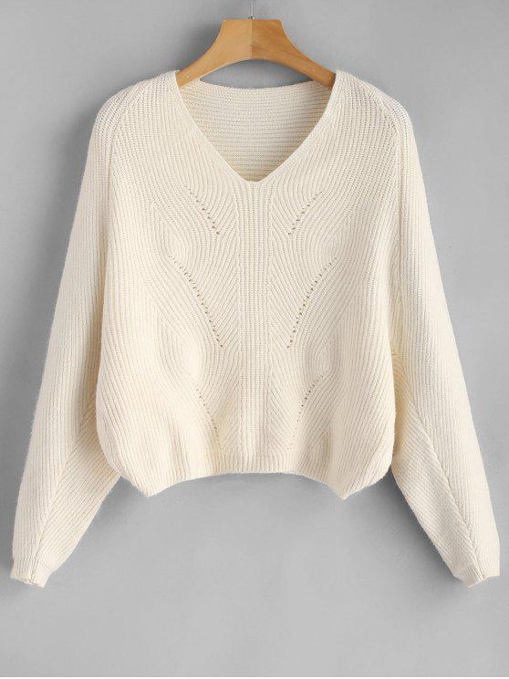 51de55e79780 43% OFF  2019 V Neck Batwing Sleeve Crop Sweater In APRICOT