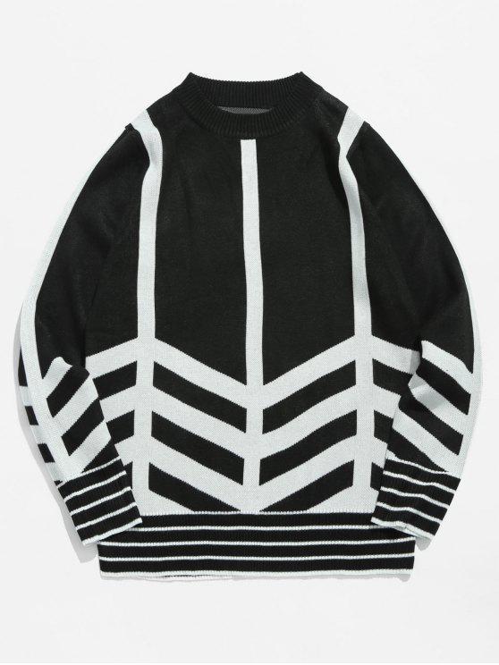 unique Striped Pullover Sweater - BLACK M