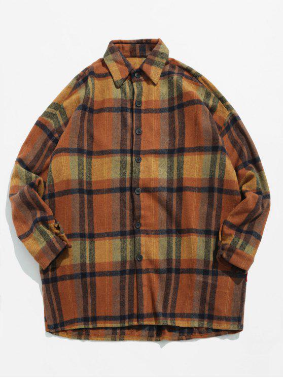 new Woolen Plaid Pattern Warmth Shirt - TIGER ORANGE L