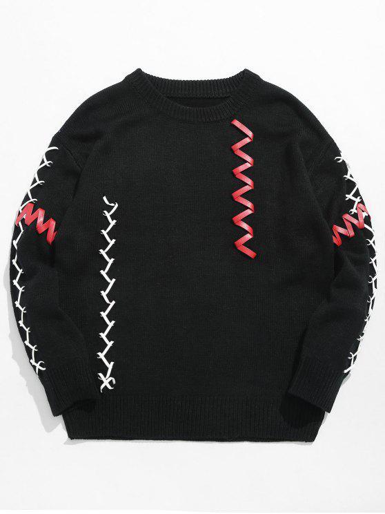hot PU Belt Embellished Pullover Sweater - BLACK M