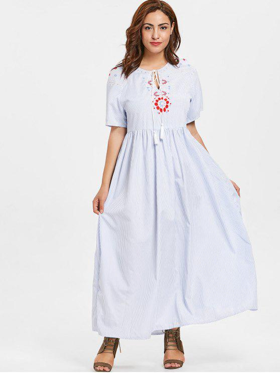 shop ZAFUL Plus Size Floral Embroidered Striped Maxi Dress - LIGHT BLUE 4X