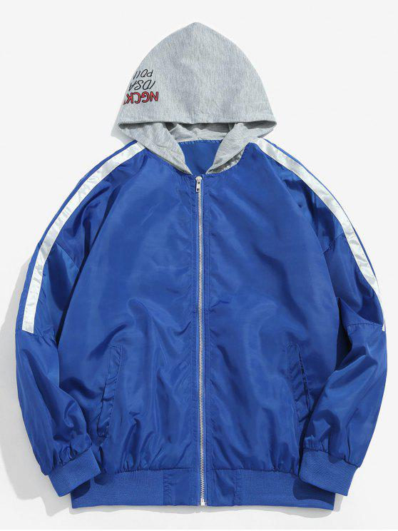 affordable Zipped Graphic Pattern Hooded Jacket - OCEAN BLUE M