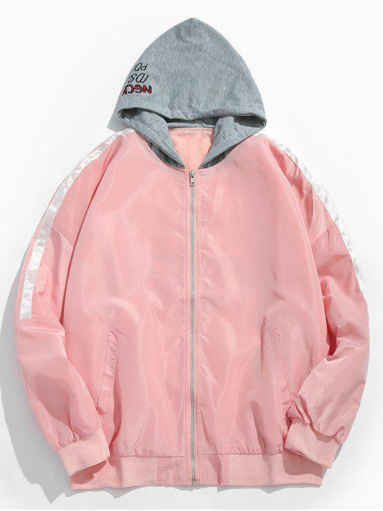 shop Zipped Graphic Pattern Hooded Jacket - FLAMINGO PINK M