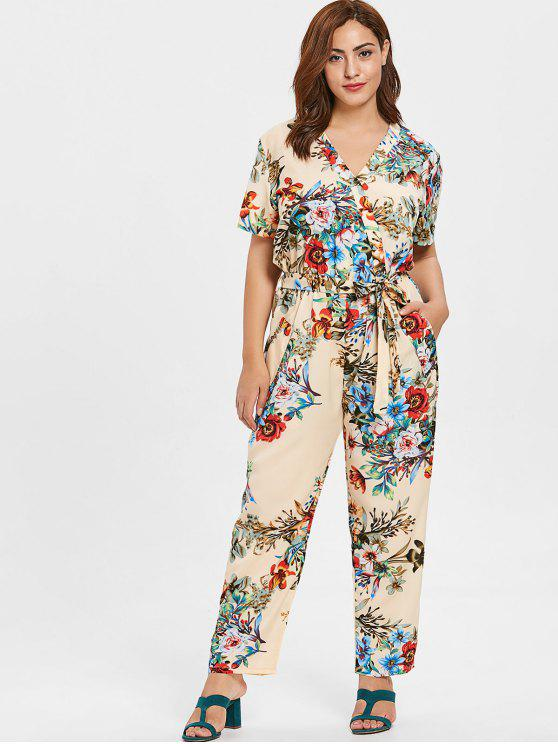 womens ZAFUL Plus Size Plunge Flowers Jumpsuit - BEIGE 4X