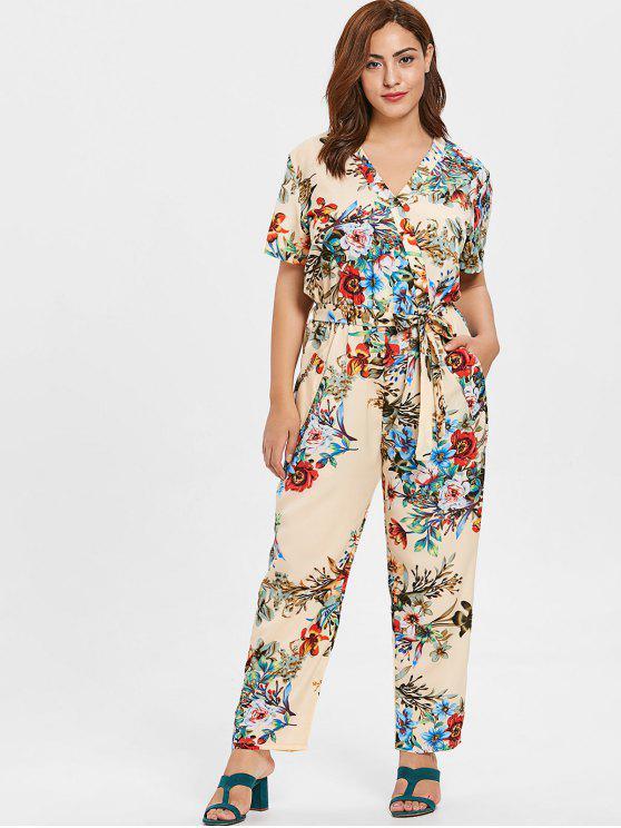 trendy ZAFUL Plus Size Plunge Flowers Jumpsuit - BEIGE 2X