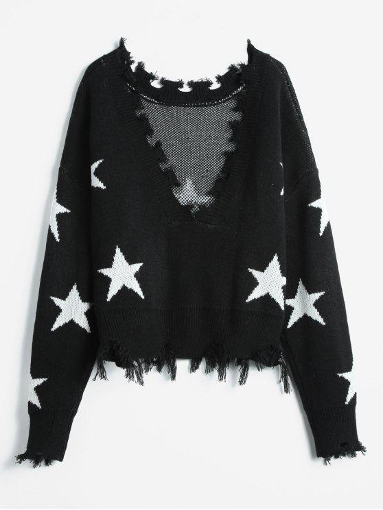 f195d9cfacc3 39% OFF  2019 ZAFUL Cropped Frayed Stars Sweater In BLACK