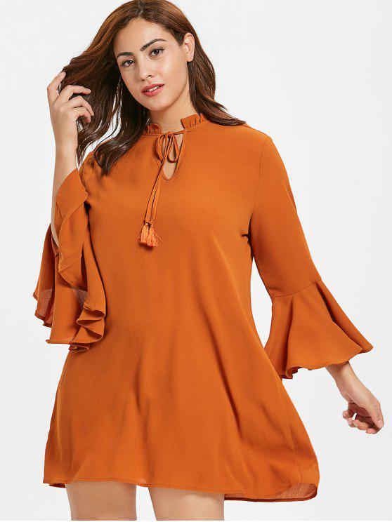 2019 Zaful Plus Size Flare Sleeve Shift Dress In Bright Orange 4x
