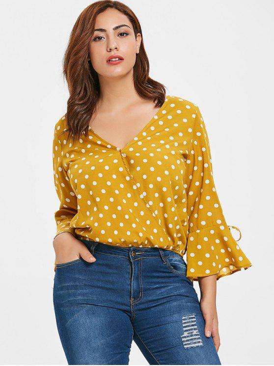 ZAFUL Plus tamanho Blusa de manga de sino de bolinhas - Ouro Laranja 3X