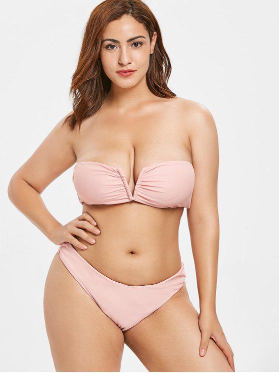 ladies ZAFUL Plus Size V Cut Bandeau Bikini Set - LIGHT PINK 1X