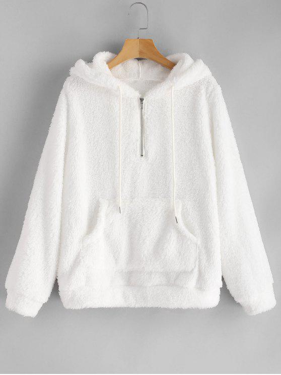 women Half Zip Kangaroo Pocket Fluffy Hoodie - WHITE L