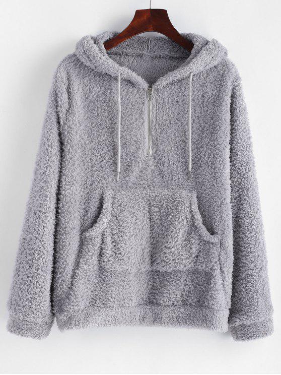 fancy Half Zip Kangaroo Pocket Fluffy Hoodie - LIGHT GRAY S