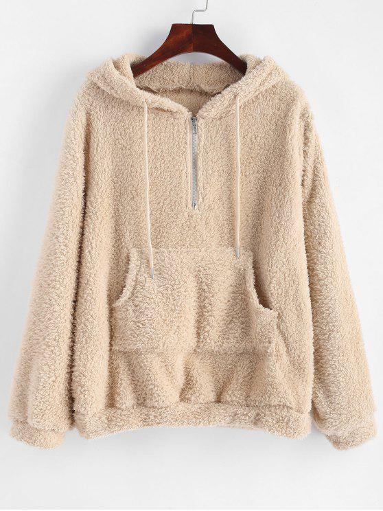 womens Half Zip Kangaroo Pocket Fluffy Hoodie - TAN XL