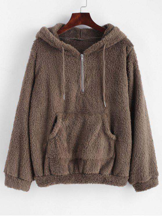 affordable Half Zip Kangaroo Pocket Fluffy Hoodie - DARK KHAKI S