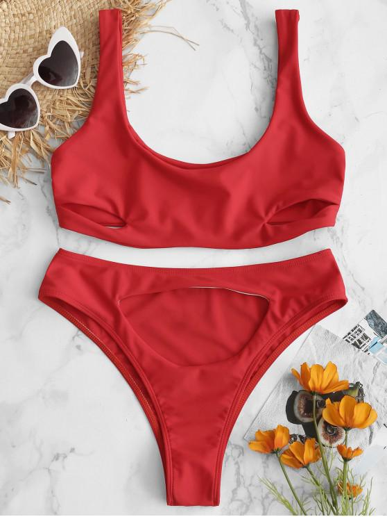 ZAFUL Bikini Bralette de Recorte de Talle Alto - Rojo de Camión de Bomberos L