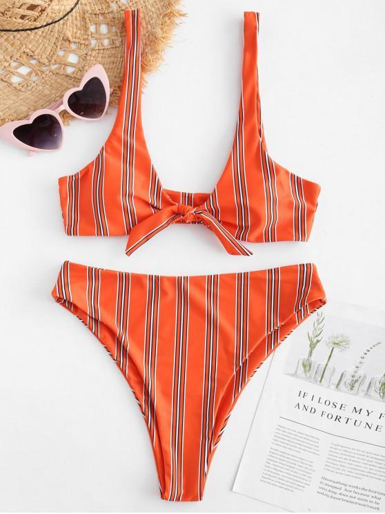 outfits ZAFUL Knot Striped Bikini Set - ORANGE L