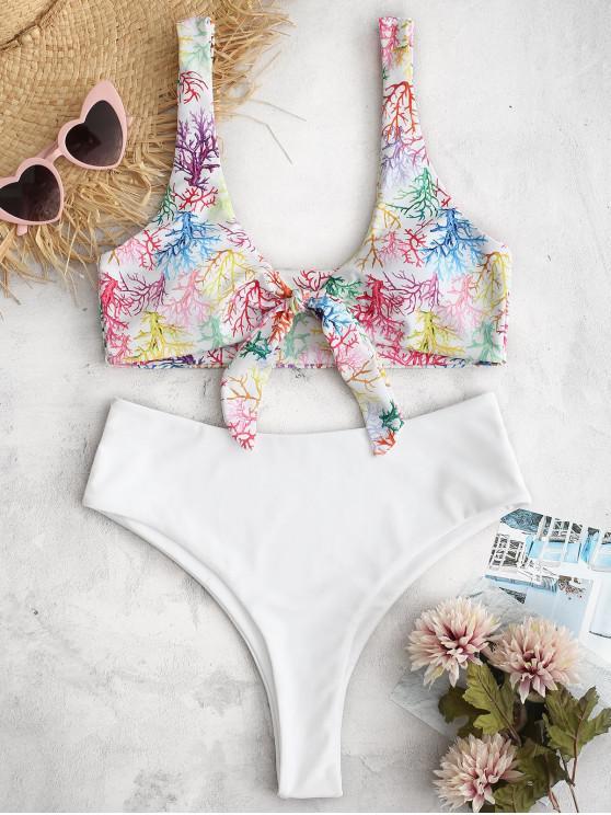 ladies ZAFUL Coral Print Tied High Waisted Bikini Set - MULTI M