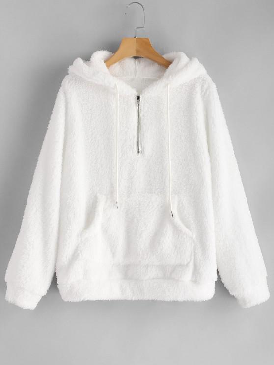 buy Half Zip Kangaroo Pocket Fluffy Hoodie - WHITE M