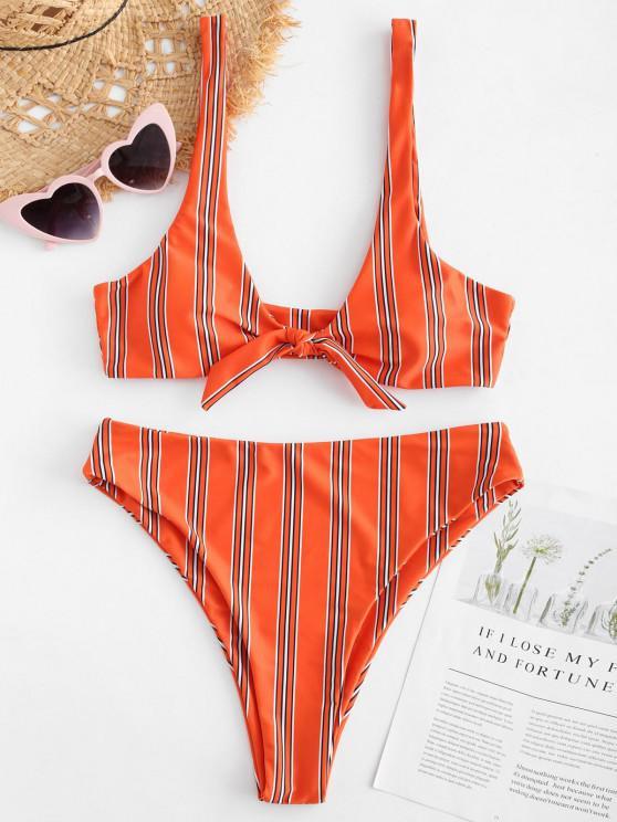 Bikini Annodato A Righe Di ZAFUL - Arancio S