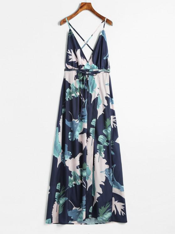 fashion High Slit Backless Foral Dress - MULTI S