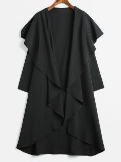 Draped Longline Coat With Open Front - Black L