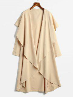 Draped Longline Coat With Open Front - Khaki L