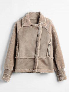 Zip Pockets Faux Sheepskin Coat - Dark Khaki M