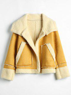 Open Front Faux Sheepskin Coat - Bright Yellow L