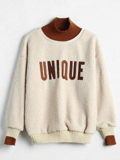 Graphic Mock Neck Faux Shearling Sweatshirt - Blonde L