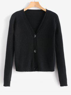 Button Up V Neck Ribbed Cardigan - Black