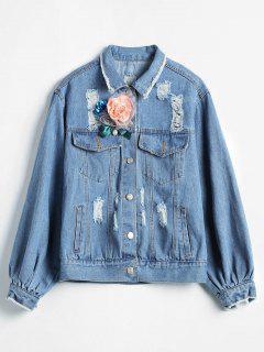 Flower Embellished Ripped Denim Jacket - Denim Blue M