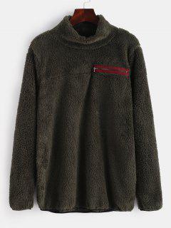 Zipper Embellished Mock Neck Fluffy Sweatshirt - Army Green L