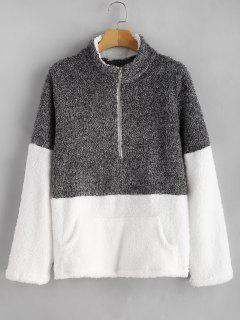 Kangaroo Pocket Contrast Fluffy Sweatshirt - Dark Gray L