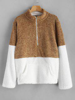 Kangaroo Pocket Contrast Fluffy Sweatshirt - Caramel S