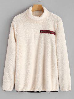 Zipper Embellished Mock Neck Fluffy Sweatshirt - Warm White L