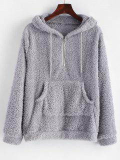 Half Zip Kangaroo Pocket Fluffy Hoodie - Light Gray S